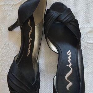 Nina Culver Satin Peep-toe heels