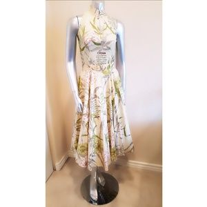 Vintage Cream Tropical Floral Print Circle Skirt