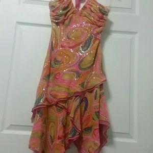 BCBGMAXAZRIA Pink Halter Sequin Dress