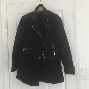 Zara navy military cost black leather trims l