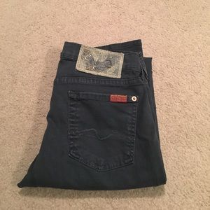 Navy Blue 7 for All Mankind Straight Jeans