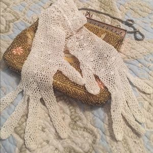 Vintage hand lace gloves