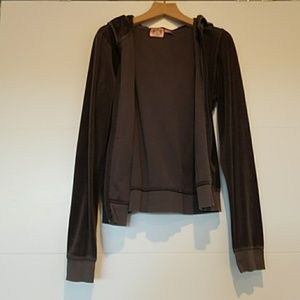 Juicy Couture velour hoodie, charcoal, sz L