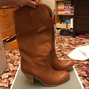 Tan real leather cowboy boots with heels