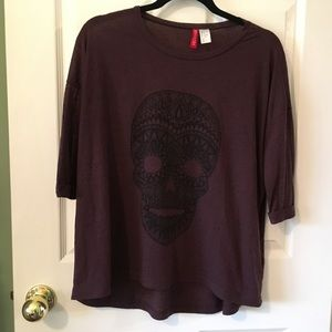 H&M Purple Sugar Skull Shirt