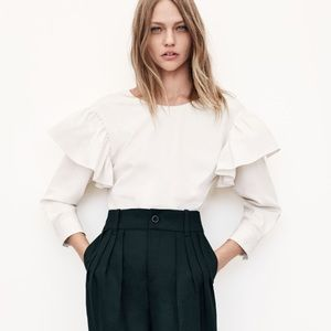 Zara Ruffle Shoulder Blouse
