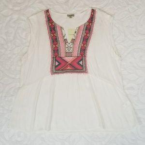 Lucky Brand Women's Plus 3X Off-White Blouse Tunic