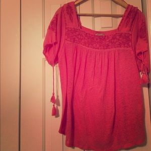 Lucky Brand beaded/embroidered salmon tunic M
