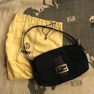 Fendi Black Monogram Signature baguette w dust bag