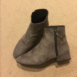 Grey block heel faux suede booties