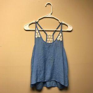 Nordstrom Blue and White Lace Tank Top