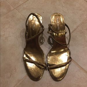 New Gold Nine West Strappy Heels Sz 7.5