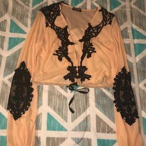 Embellished Blush Long Sleeve Crop Top