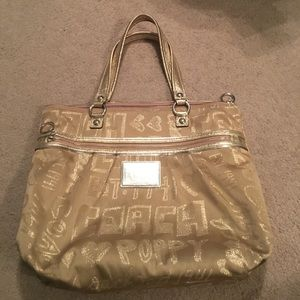 Gold Coach Poppy Tote Bag