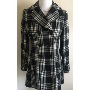 Forever 21 Classy Plaid Wool-Blend Peacoat