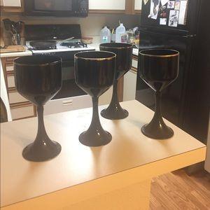 Wine Glasses/ black and gold rim