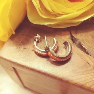 Silver and coral half hoop earrings