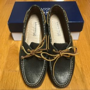 Sperry Top-Sider Green Snake Metallic, Size 8.5