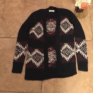 Hollister size small burgundy and navy cardigan