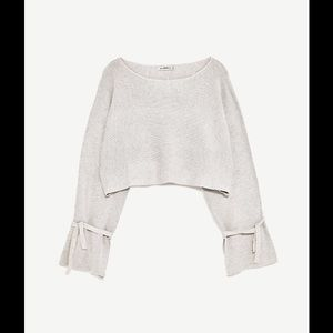 Zara cropped sweater with ribbon detail.