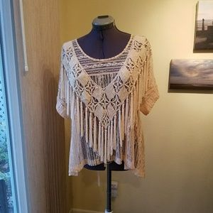 Free People tea lace top with fringe shawl