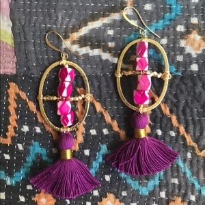 Acai Earrings - tassel, argyle bone beads, pyrite