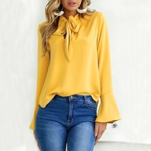✨Yellow Chiffon Blouse W/ Flared Bell Sleeves✨