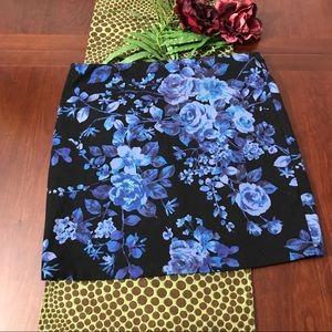 Express black Floral Full Stretch Mini Skirt