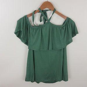 Light green halter ruffle top