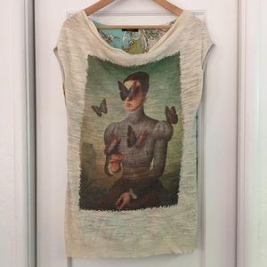 Sleeveless printed knit satin top