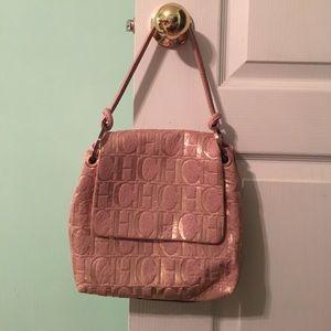 Carolina Herrera Pink and Rose Gold Leather Purse