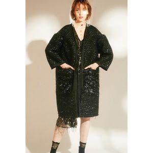 Rimless Glitter Fringe Coat Black S