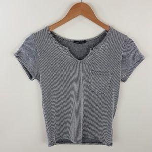 Striped pocket v neck top