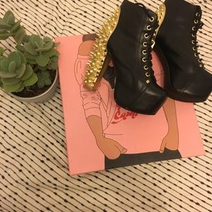 Jeffrey Campbell Gold Spike Booties