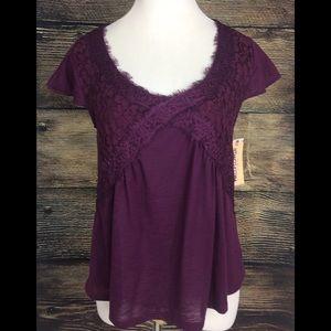 Gorgeous Purple Lace Detail Cap Sleeve Top Medium