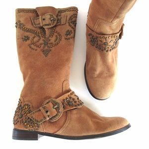 Vintage Beverly Feldman Suede Embroidered Boots