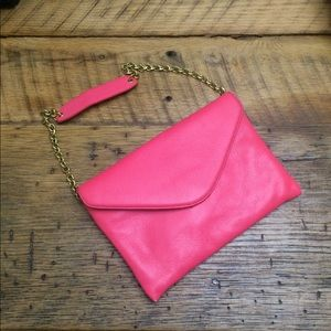 Hot Pink Leather Envelope Clutch
