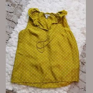 J. Crew $110 lime polka dot ruffle top sz 0