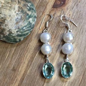 Jewelry - NWOT Pearl & Green Amethyst Quartz Drop Earrings