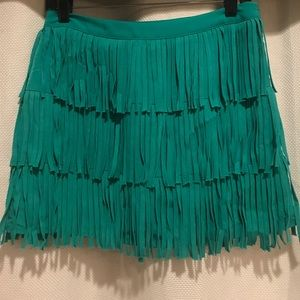 Zara Basic tiered fringe mini skirt