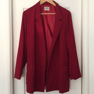 Long line blazer with open front and large pockets