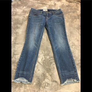 Free People raw hem ankle cropped light wash jeans