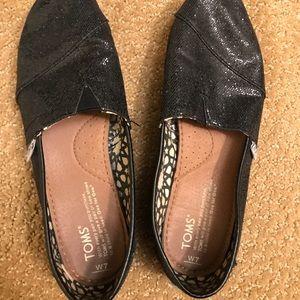 Black glitter Toms size 7