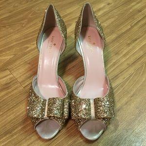 Kate Spade glitter peep toe bow kitten heels