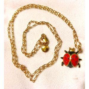J. Crew Ladybug Pendant Long Gold Necklace