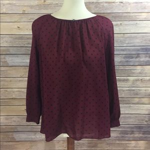 J. Crew Maroon Red with Black Polka Dots Blouse