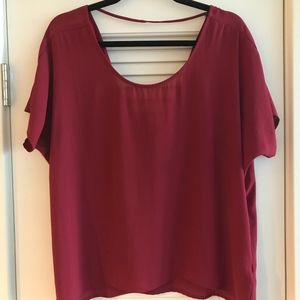 Wine colored short sleeve blouse with back draping