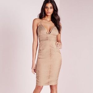 Missguided bodycon snake jacquard dress taupe