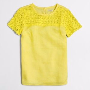 J.Crew Yellow LINEN LACE T-SHIRT 10