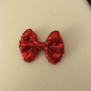 Mini red sequin bow clip